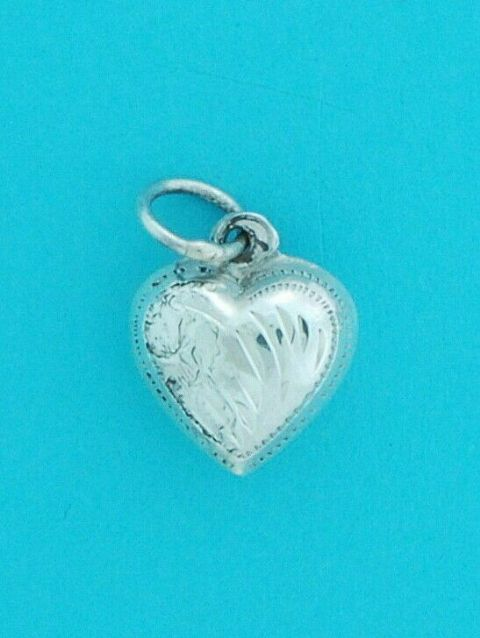 Genuine 925 12mm Sterling Silver Heart Pendant With Engraving Pattern Detail